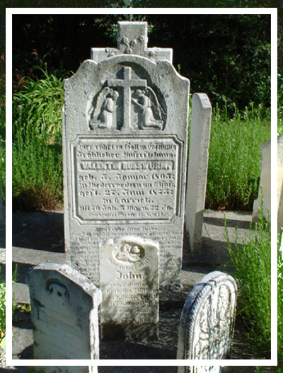 Valentin Russwurm's Headstone,which was relocated from the Original Cemetary into the Tombstone Garden behind St. John's Lutheran Church, in Carrick Township, Ontario Canada